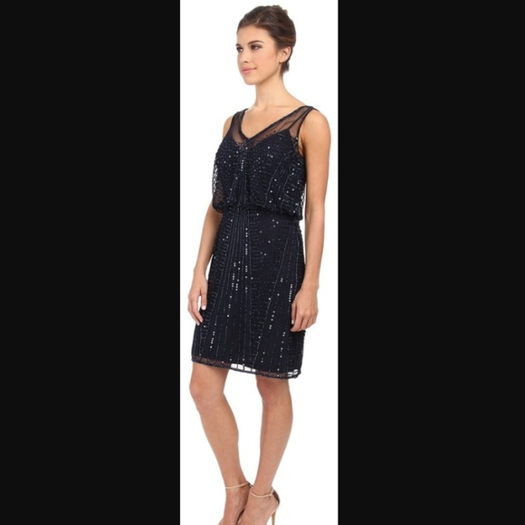 Adrianna Papell Dresses & Skirts - Adrianna Papell Navy Beaded Cocktail Party Dress